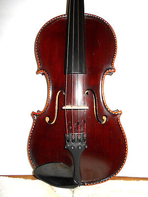 """Nice Old Vintage Antique Inlaid Purfling """"Fent"""" 1 Pc Back Full Size Violin - NR"""
