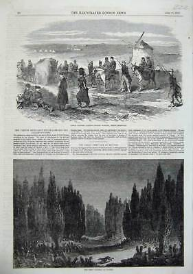 Old Antique Print Fine Art Cemetery Scutari 1855 French Cacolets War Army 19th