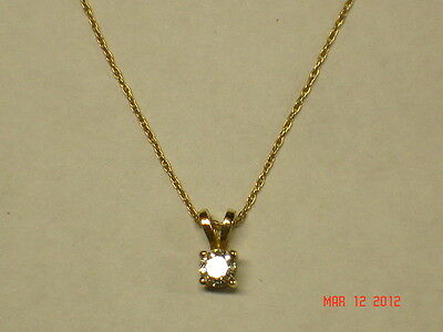 Ladies Solitaire Apprx. 1/3 Carat..real Natural Diamond Pendant With Gold Chain