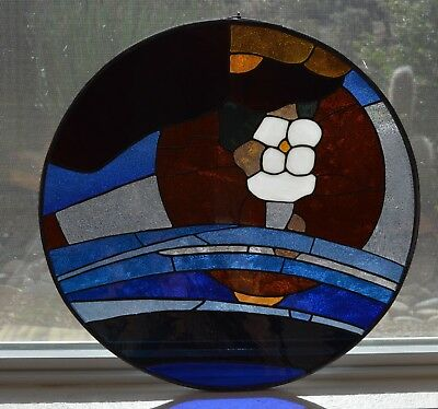 "Beautiful Contemporary Leaded Stained Glass Panel 20.25"" Diameter"