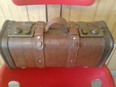 Antique Vintage Hand-Crafted Wooden And Leather suitcase/Storage Chest