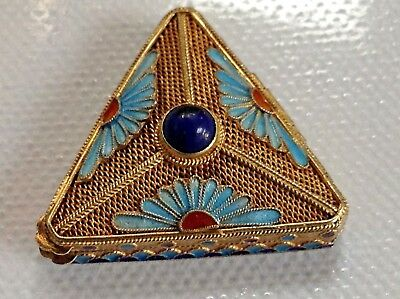 A Vintage Chinese ? Silver Gilt & Enamel Small Triangle  Pill Box Beautiful !