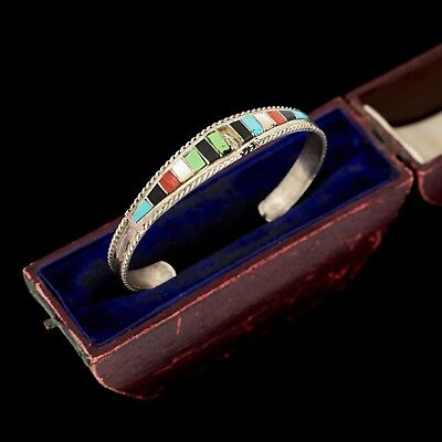Antique Vintage Sterling Silver Native Zuni Chip Inlay Turquoise Cuff Bracelet