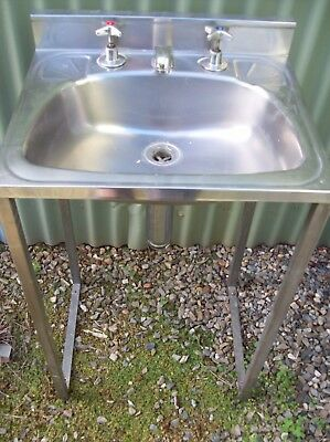Free standing Stainless steel hand basin W/taps