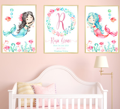Mermaid Nursery Prints Set Of 3, Personalised Baby Room Pictures Wall Art Decor