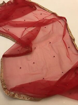$5.99 Partywear  Red Side Dupatta Indian  Wedding Scarf  Match any Dress Suit