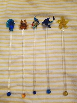 cocktail drink stirrers glass stir sticks fish crab ocean starfish whale sea