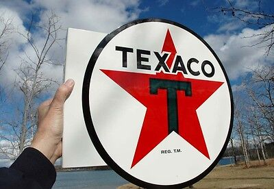 Old Style Texaco Star Motor Oil Flange Thick Steel Flange Sign Usa Made Amazing