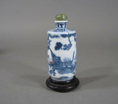 Lg Very Nice Signed Antique Chinese Blue & White Porcelain Snuff Bottle, Animals