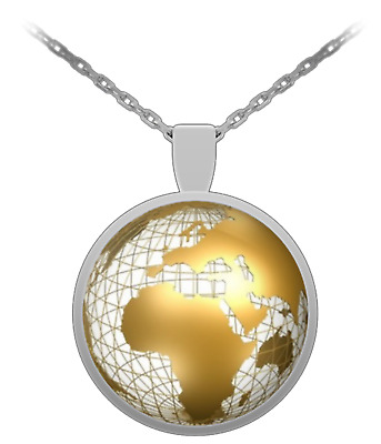 World Globe Earth Atlas Map Traveler 1 inch Round Pendant 22 inch Necklace Gift