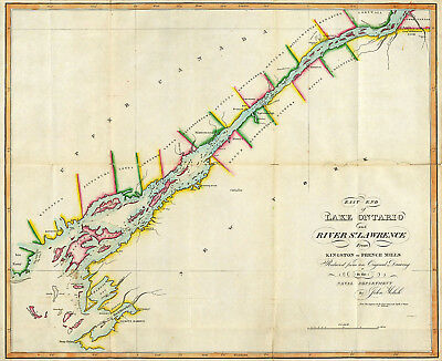1815 Map East End of Lake Ontario and River St Lawrence Naval Military Poster