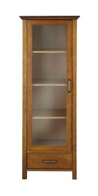 Avery Linen Cabinet with Drawer in Oil Oak Finish [ID 3307085]