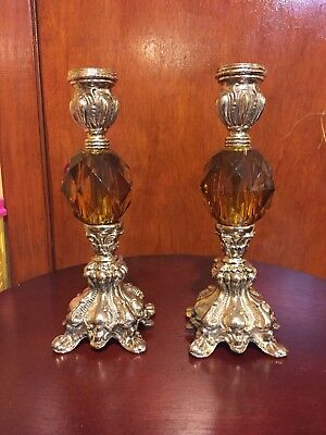 "Pair Of 8.25"" Vintage Amber Lucite Nickel-plated Cast Iron Taper Candleholders"