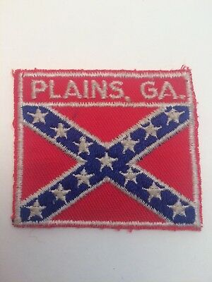 Vtg Plains Georgia GA USA Sew On Embroidered Patch Dixie Red White Blue South