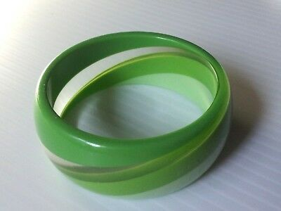 "Vintage Plastic Two Tone Green and Clear Lucite Bracelet Bangle Vtg 1 1/8"" Wide"