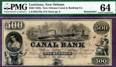 HGR FRIDAY 1850's $500 New Orleans LA ((RARE/WANTED $500)) PMG CHOICE UNC 64