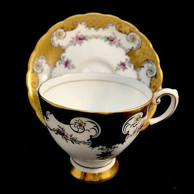 Tuscan Roses Heavy Gold Bone China Tea Cup & Saucer England