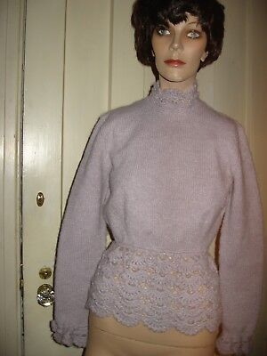 LOVELY VINTAGE 1960s GRAY WOOL SWEATER TUNIC HAND KNIT AND CROCHETED BY GRANDMA