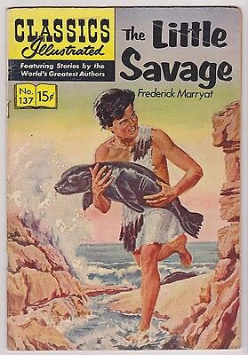 Classics Illustrated #137 The Little Savage, Edition 1, HRN #136, VG-Fine Cond'