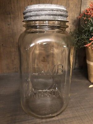Vintage Lamb Mason squared Quart Jar with Zinc Lid