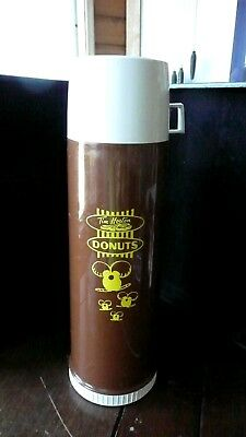 """TIM HORTONS VTG 4 CUP 32OZ THERMOS BOTTLE W CUP LID 13.5"""" h x 4.5"""" Minions logo"""