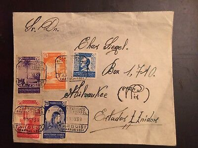 1939 Spanish Morocco Censured Registered Cover To Milwaukee WI USA