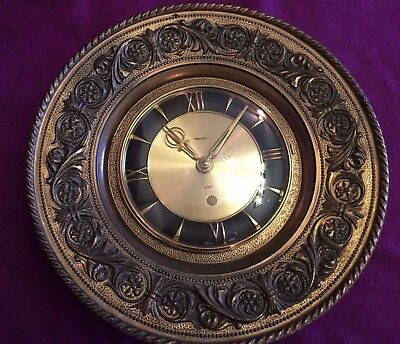 Diehl 8 Day Germany Brass Metal Wall Clock Mechanical Wind Up Vintage
