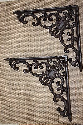 "(2) Victorian Era Design Shelf Brackets, Cast Iron, Powder Coat Finish, 8"" B-29"