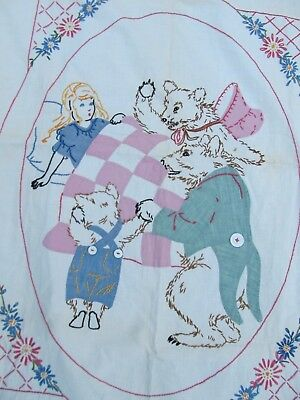 """Very Nice UNUSUAL ANTIQUE CHILD """"GOLDYLOCKS"""" APPLIQUE QUILT, WALL HANGING, GIFT"""