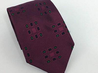 HUGO BOSS Necktie Mens 100% Silk ITALY Luxury Designer Geometric Purple Green