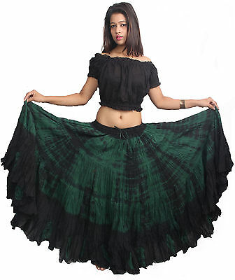 TMS MAROON 16 Yard 4 Tier Skirt Belly Dance Gypsy Costume Troup Tribal Club JUPE