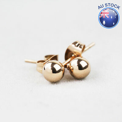 New 18K Rose Gold GF 5MM Solid Simple Round Ball Beads Stud Earrings Stunning