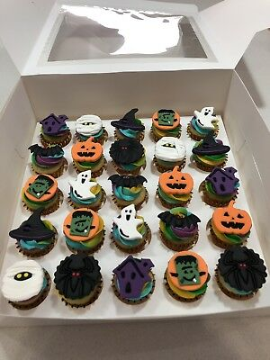 HALLOWEEN 2D EDIBLE CAKE TOPPERS FONDANT, ICING SUGAR x 24