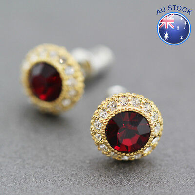 925 Sterling Silver Red Antique Style 10mm Stud Earrings Vintage Look Gift