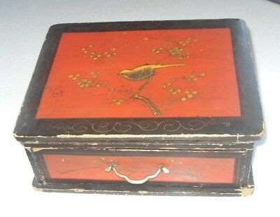 Antique Rustic Crude Hand Painted Pitch Pine Small Writing Slope Box