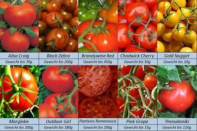 Tomatensamen, 10 Sorten, International, Italien, USA, Peru, GB, Griechenland,..