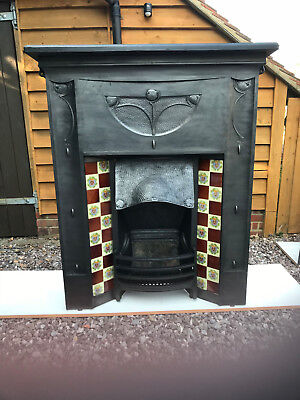 Rare antique cast iron fireplace stunning art nouveau
