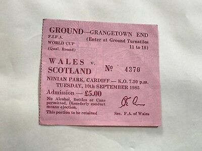 Wales v Scotland 1985 Sad Jock Stein Day Match Ticket