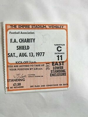 1977 English Charity Shield Cup Final Ticket Liverpool v Manchester United Utd