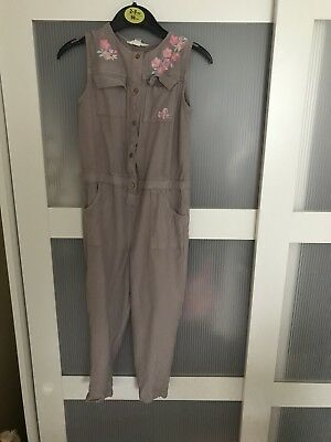 River Island Mini Girls 3-4y Mauve Embroidered Jump Suit