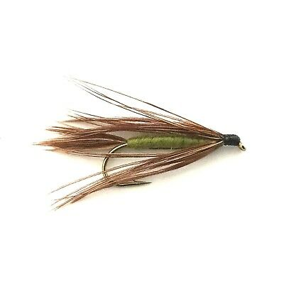 6 x Olive Carey Special Fly Fishing Wet Flies For Trout and Salmon