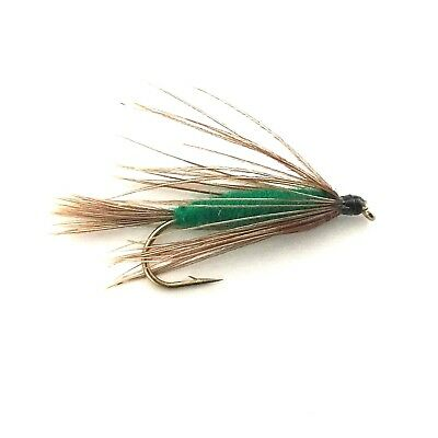 6 x Green Carey Special Fly Fishing Wet Flies For Trout and Salmon