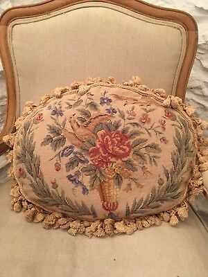 "Vintage Aubusson Style Tapestry Wool Needlepoint Cushion With Tassels  21""x15"""