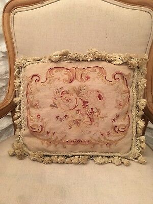 Vintage Aubusson Style Needlepoint Tapestry Cushion With Tassels 15x12""