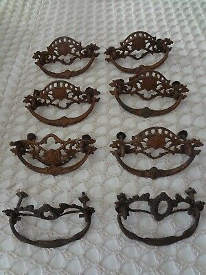 Lot of antique ornate brass Victorian style drawer pulls screws nuts