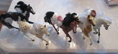 5 vintage horse plastic toy figures 8 inches