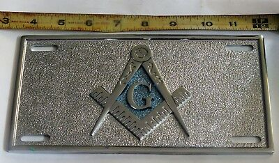 Masonic License Plate Metal Chrome Shriner Compas Mason Freemason Car Truck