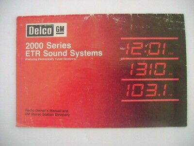 Delco  Gm 2000 Series   Etr Sound Systems   Booklet Radio Owner's Manual