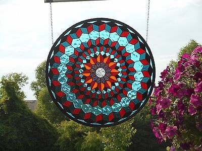 Beautiful Large Round Stained Glass Handmade Window Panel artist signed