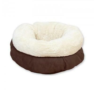 Cama Donut Lamb Cat Color Marrón para Gatitos Cuna Gato Borreguillo